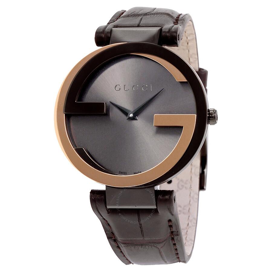 gucci female 214210 gucci interlockingg black dial brown leather ladies watch ya133304