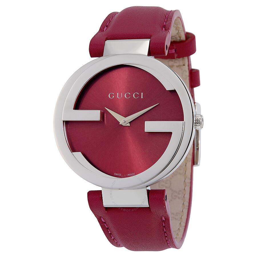 Gucci Interlocking G Pink Dial Pink Leather Ladies Watch YA133321 at Jomashop.com & JomaDeals.com