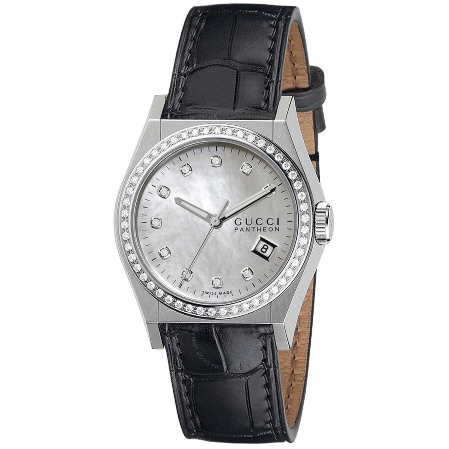 gucci female 189063 gucci pantheon mother of pearl dial black leather diamond ladies watch ya115405