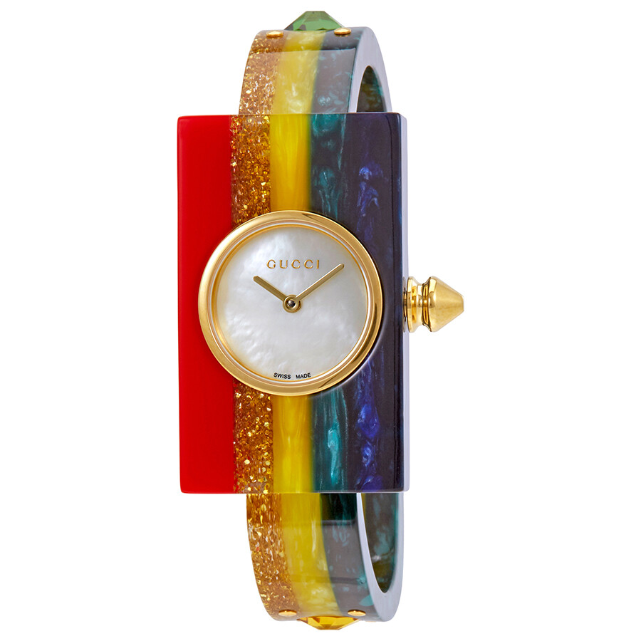 Gucci Plexiglas Ladies Small Studded Bangle Watch YA143519