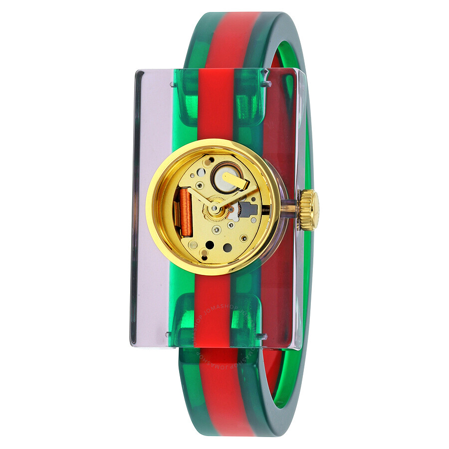 Gucci Plexiglas Red and Green Ladies Watch YA143503