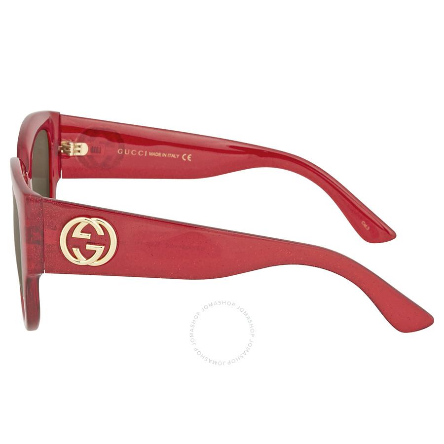 6cb36afe29 Gucci Red Glitter Square Sunglasses Sc 1 St Jomashop