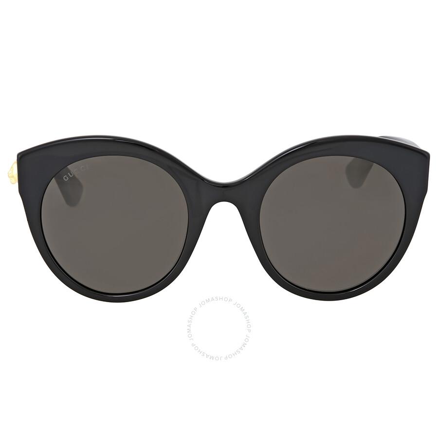 Gucci Damen Sonnenbrille GG0028S 001, Schwarz (Black/Grey), 52