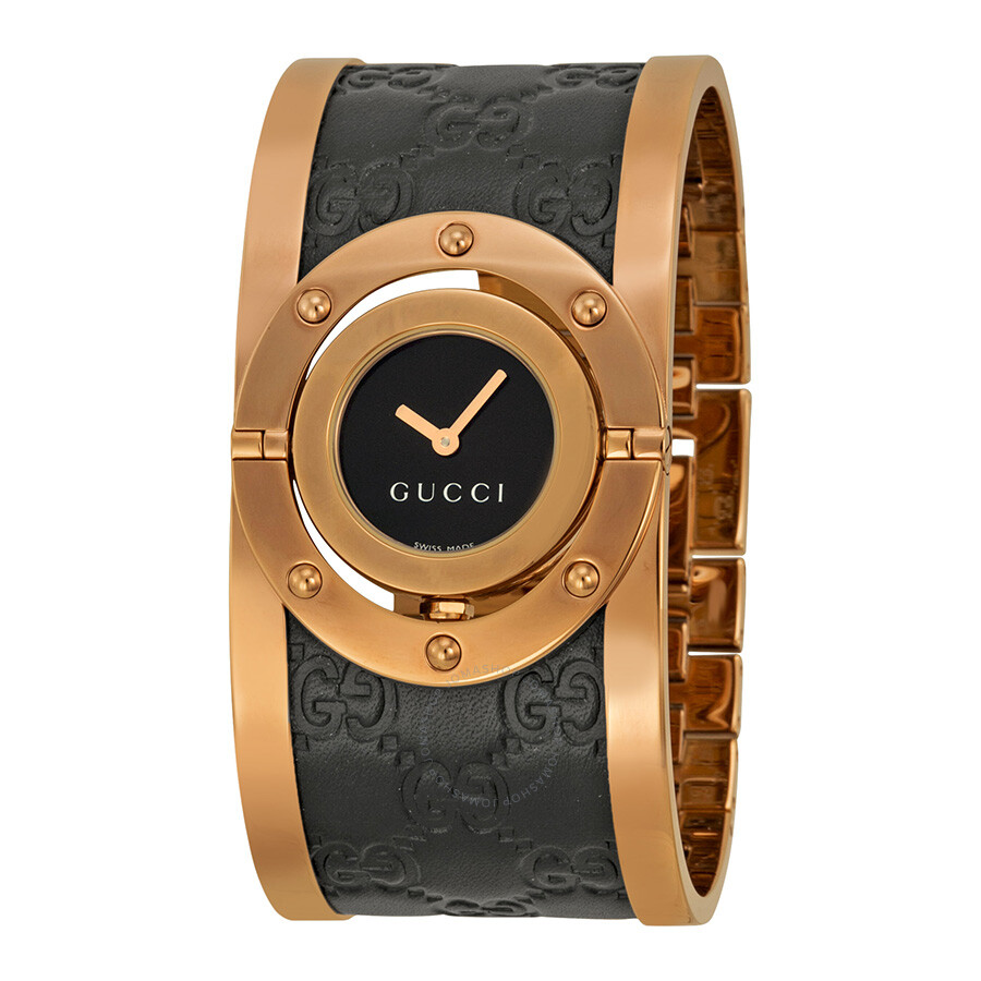 gucci female 246290 gucci twirl black dial pink gold pvd and black leather ladies watch ya112438