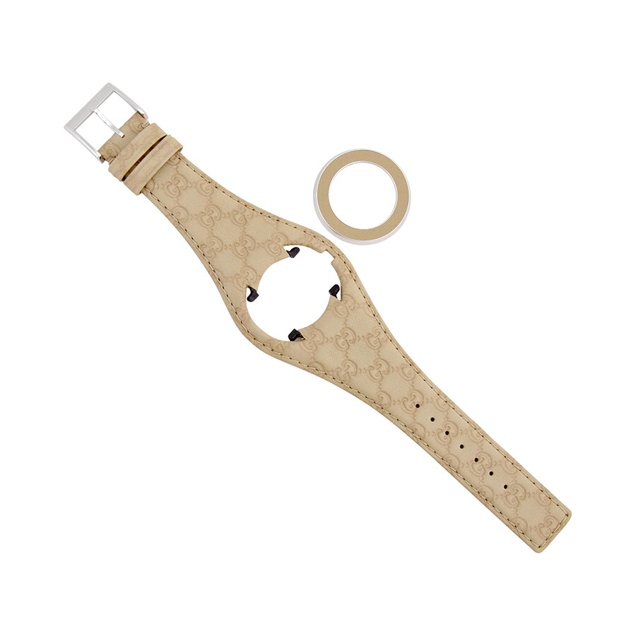 gucci 186518 gucci uplay medium beige bandeau leather strap and bezel kit yfa50048
