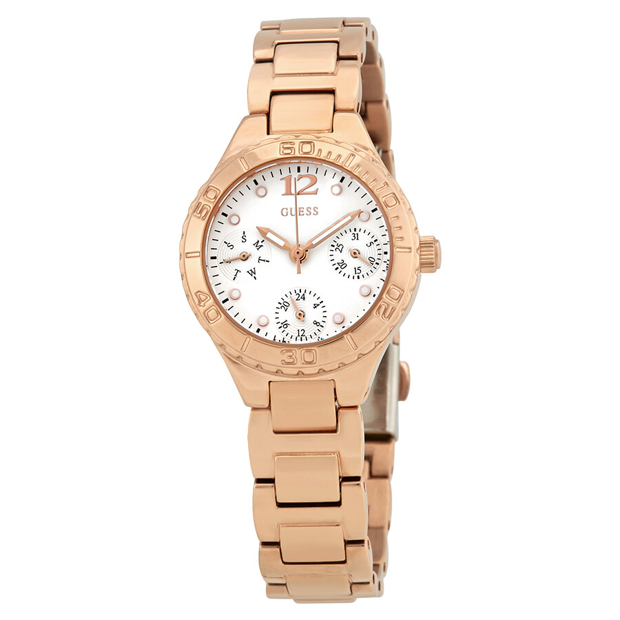 Guess Breeze White Dial Ladies Rose Gold Multifunction Watch W0355L2