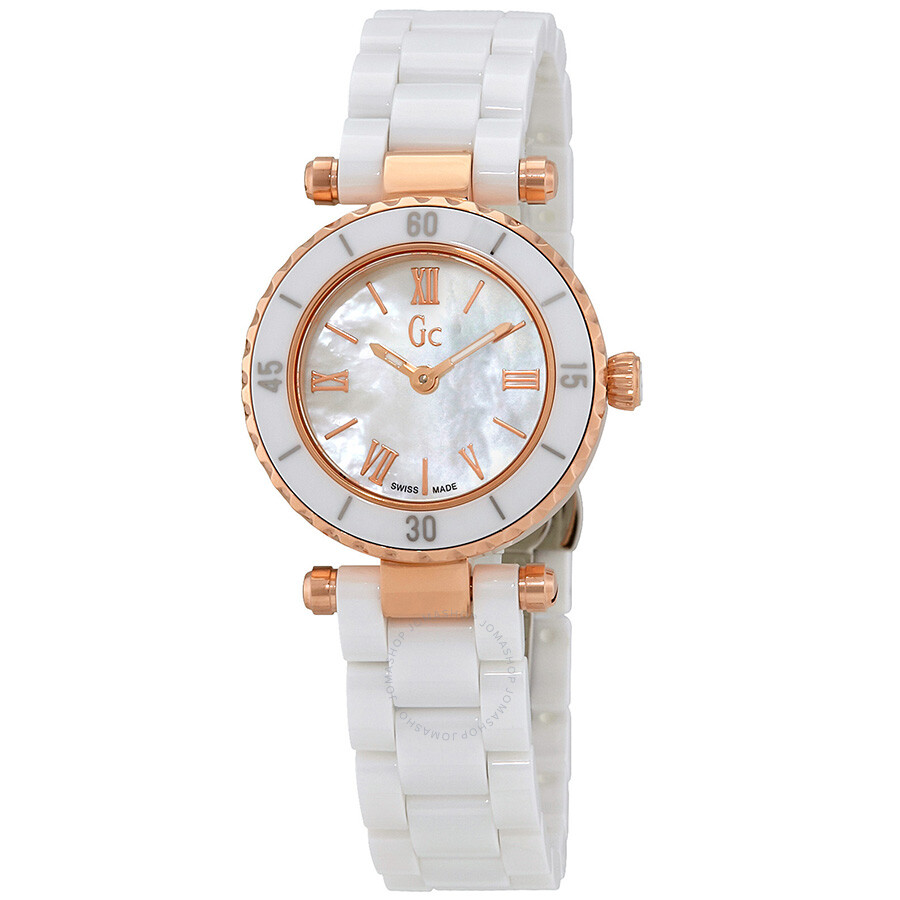 Guess Chic Mother of Pearl Dial Ladies Ceramic Watch X70011L1S