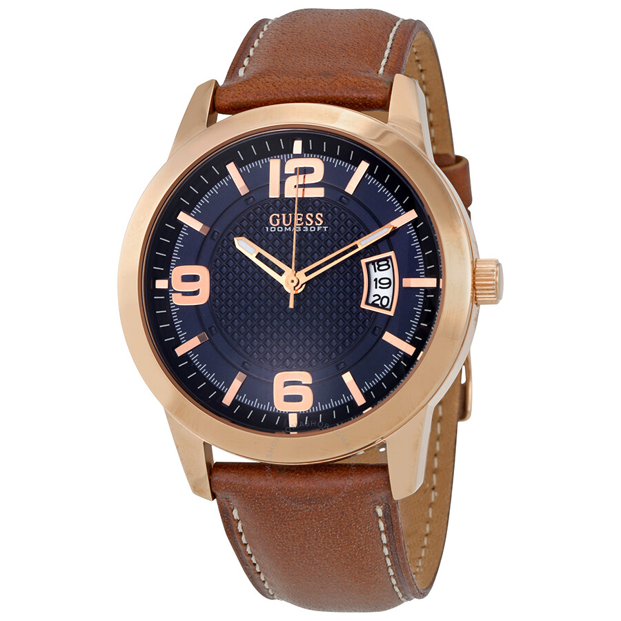 Guess district blue dial men 39 s leather watch w0494g2 guess watches jomashop for Watches guess