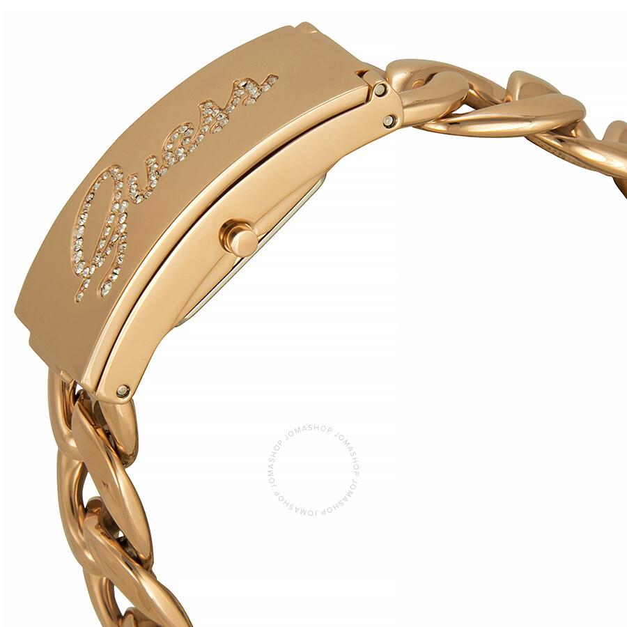Guess Id Bracelet Rose Dial Gold Tone Las Watch U0321l3