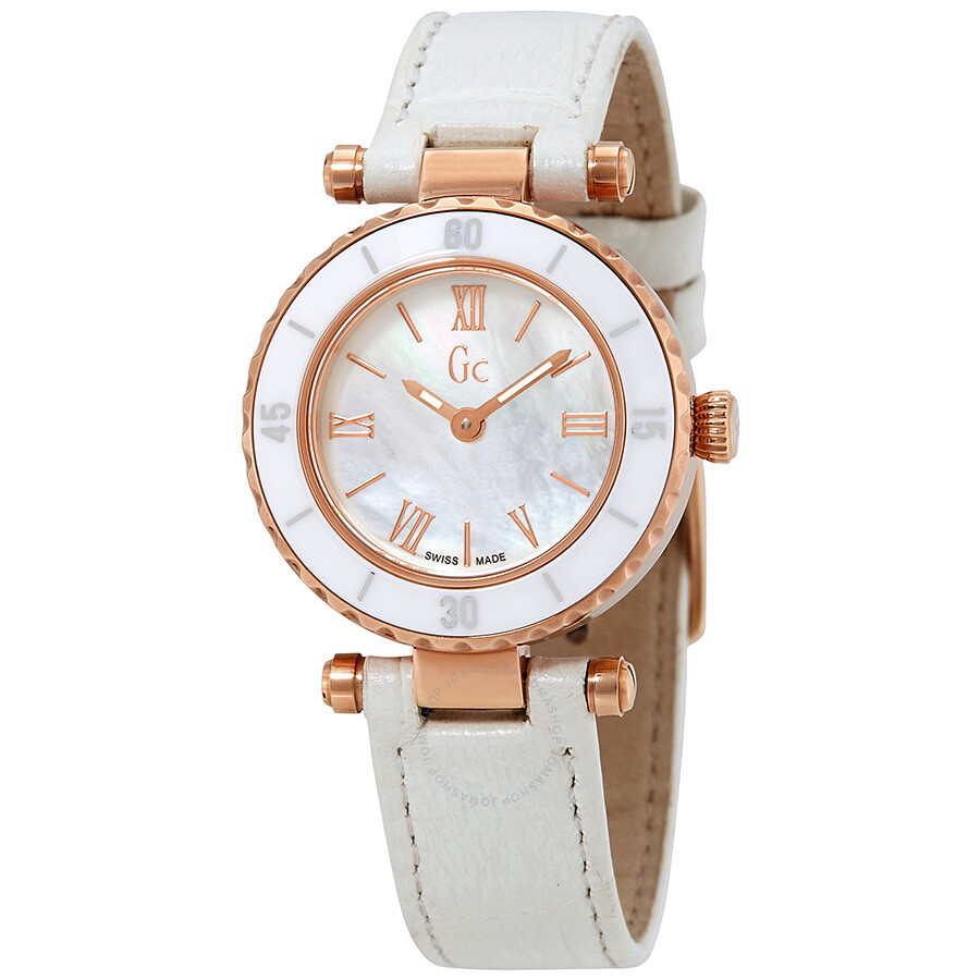 Guess Mother of Pearl Dial Ladies Leather Watch X70033L1S