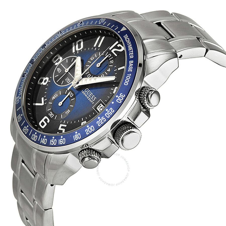 guess sport ready chronograph blue dial stainless steel men s watch rh jomashop com Guess Waterpro Watch for Women Guess Ladies' Waterpro Bracelet Watch