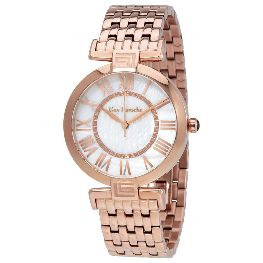 Guy Laroche Far East White Mother of Pearl Dial Ladies Rose Gold Tone Watch ..