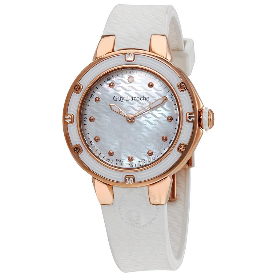 Guy Laroche Mother of Pearl Dial Diamond Ladies Watch SL30201
