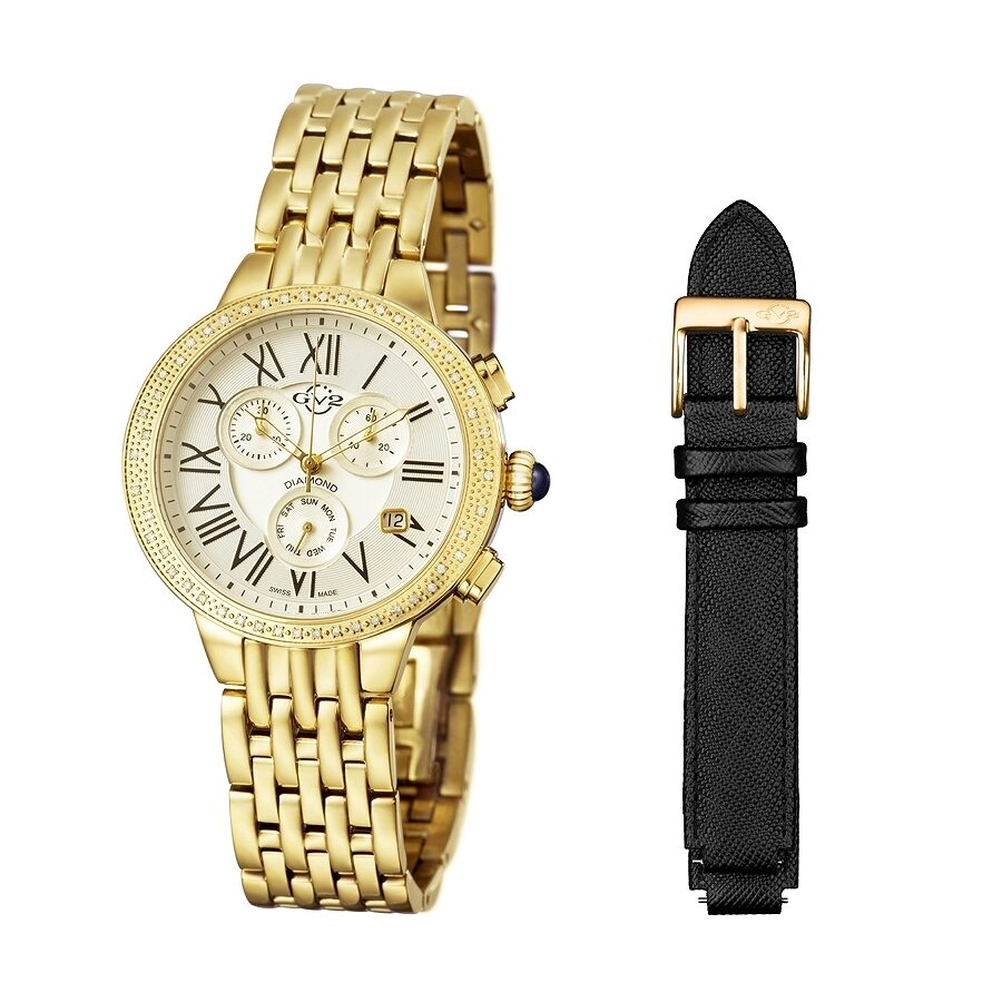 GV2 by Gevril Astor White Dial Chronograph Diamond Ladies Watch 9131