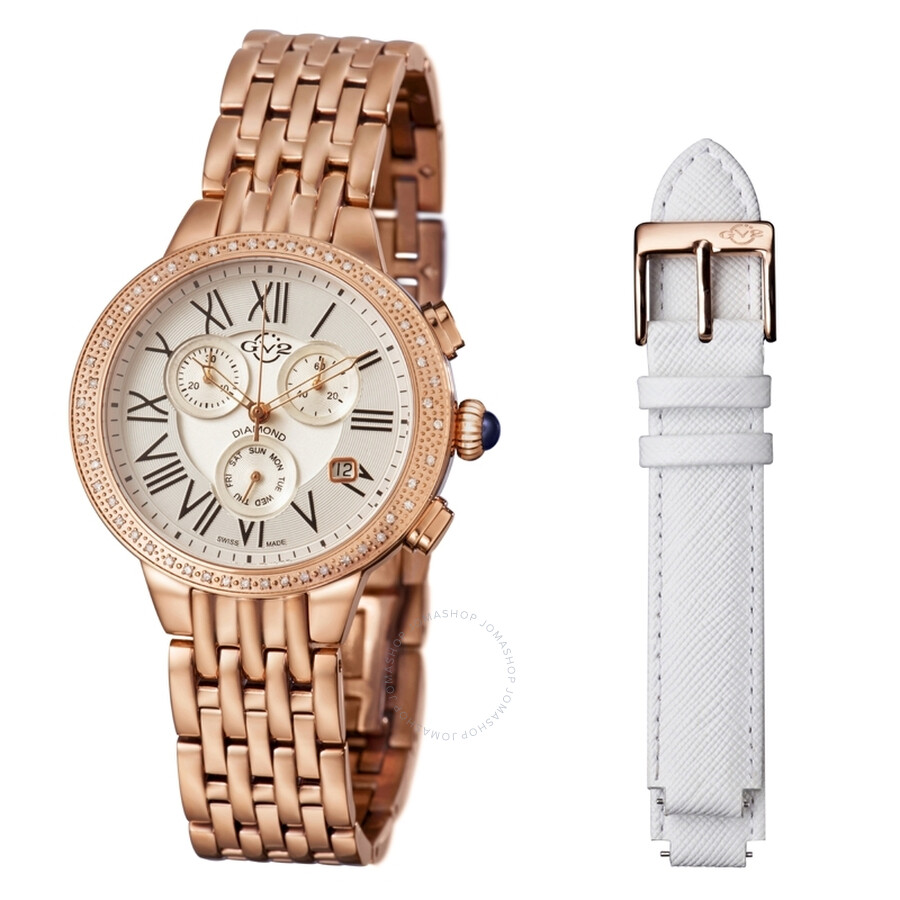 GV2 by Gevril Astor White Dial Chronograph Diamond Ladies Watch 9132
