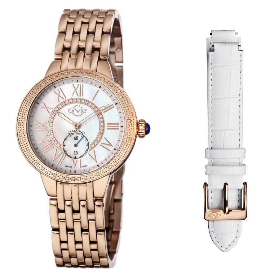 GV2 by Gevril Astor White MOP Dial Diamond Ladies Watch 9108