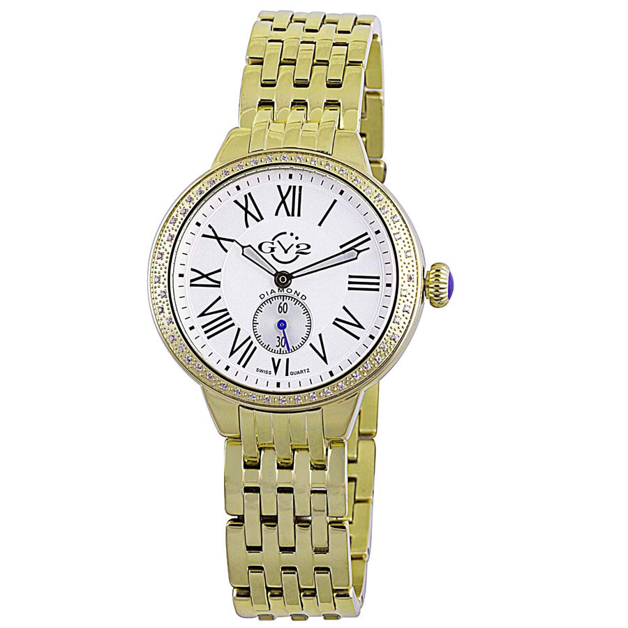 GV2 by Gevril Astor Gold-tone Diamond Bezel Quartz Ladies Watch 9101