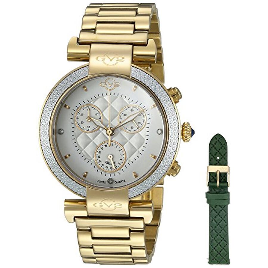 GV2 by Gevril Berletta White Dial Chronograph Diamond Ladies Watch 1551
