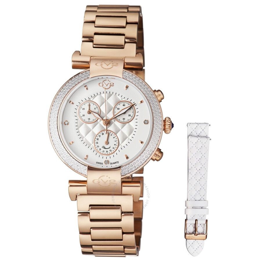 GV2 by Gevril Berletta White Dial Chronograph Diamond Ladies Watch 1552
