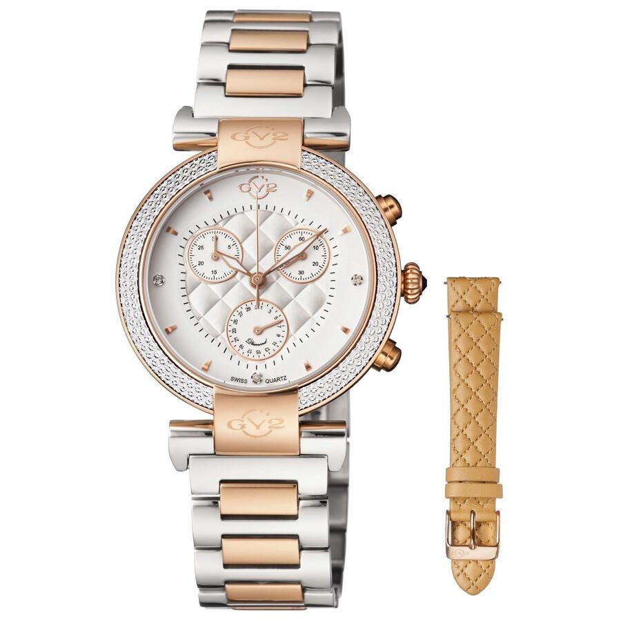 GV2 by Gevril Berletta White Dial Chronograph Diamond Ladies Watch 1553
