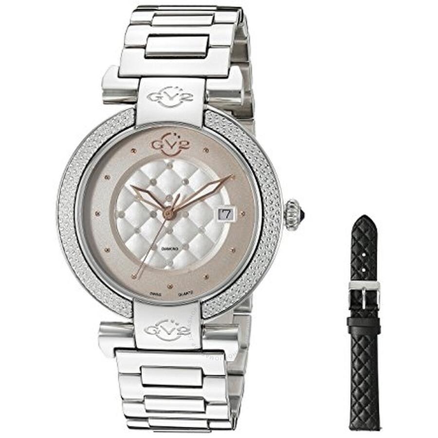 GV2 by Gevril Berletta White Dial Diamond Ladies Watch 1500