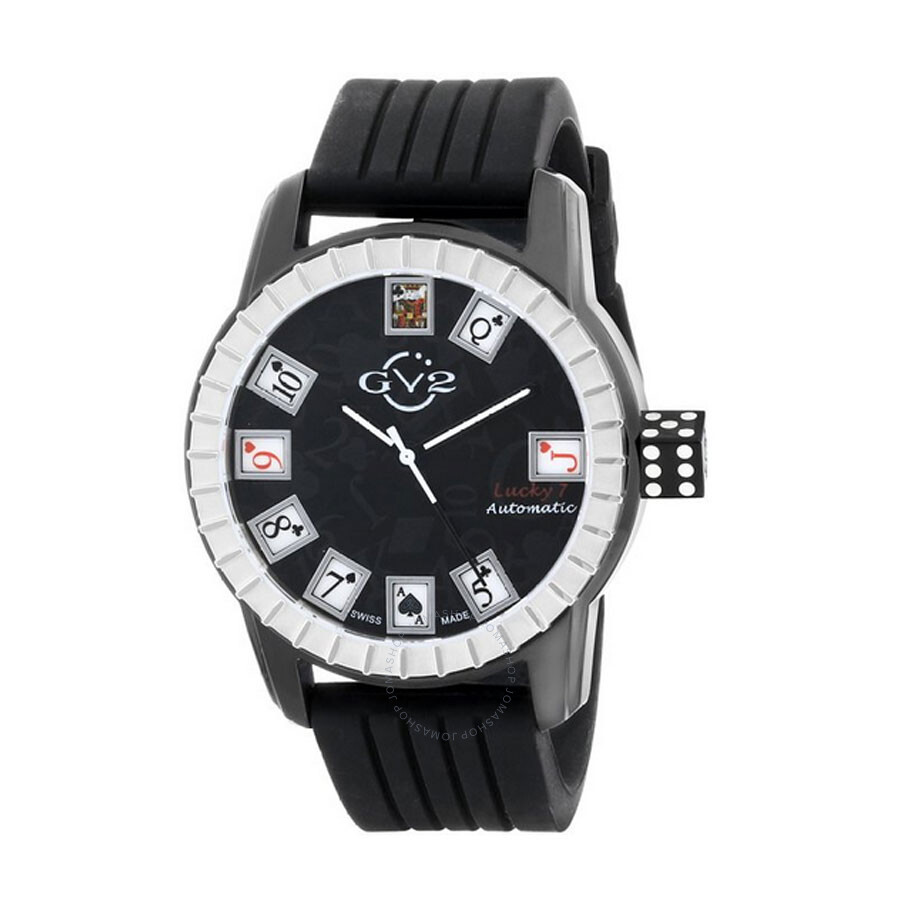 GV2 by Gevril Lucky 7 Black IP Steel Case Black Dial Automatic Self Wind Mens Watch 9301