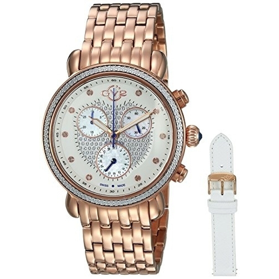 GV2 Marsala Chronograph Ladies Rose Gold-tone Watch 9881