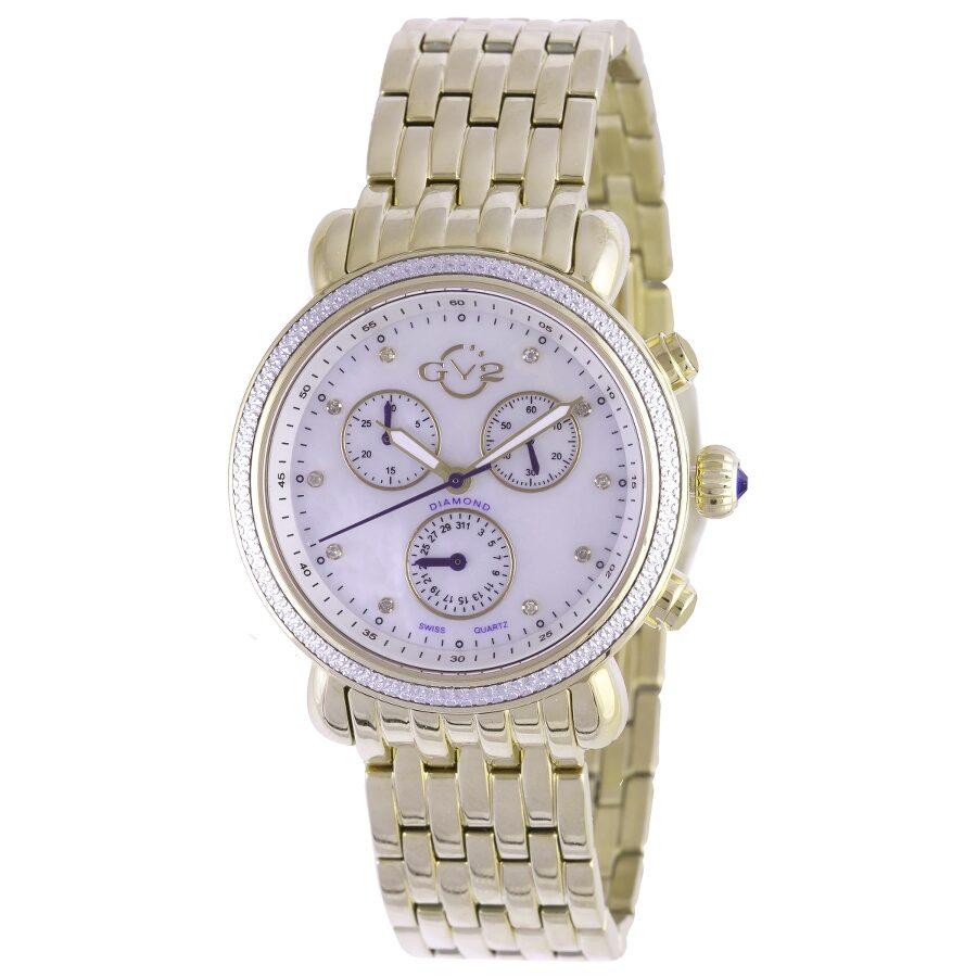 GV2 by Gevril Marsala Rose Dial Chronograph Diamond Ladies Watch 9802