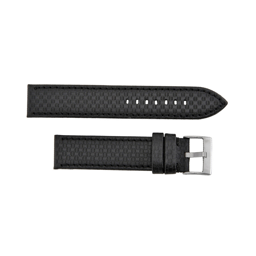 Hadley Roma 18mm High Performance Carbon Fiber Style Black Leather Strap
