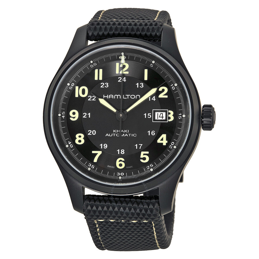 Hamilton khaki field titanium men 39 s watch h70575733 khaki field hamilton watches jomashop for Titanium watches