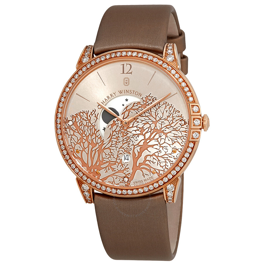 Harry Winston Midnight Champagne Sunray Dial 18kt Rose Gold Diamond Satin Mens Watch MIDQMP39RR001