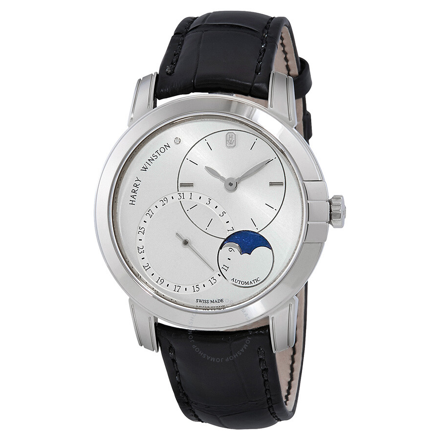 Harry Winston Midnight Silver Dial Automatic Mens Moon Phase Watch MIDAMP42W..