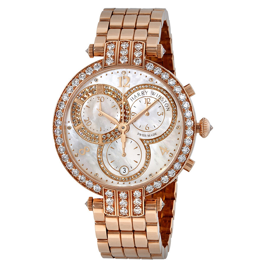 Harry Winston Premier Mother of Pearl Dial Ladies 18K Rose Gold Chronograph ..