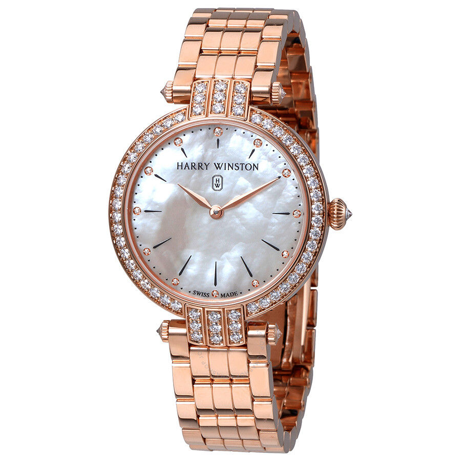 Harry Winston Premier Mother of Pearl Dial Ladies 18K Rose Gold Watch PRNQHM..