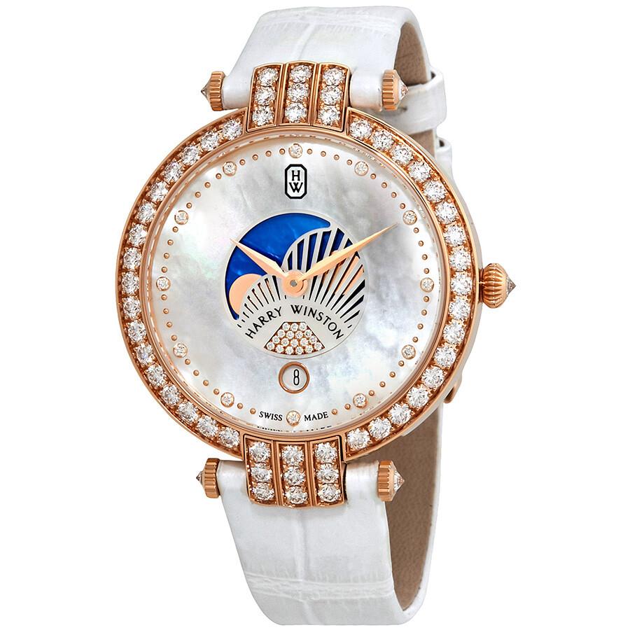 Harry Winston Premier Mother Of Pearl Dial Ladies Diamond Watch PRNQMP36RR001