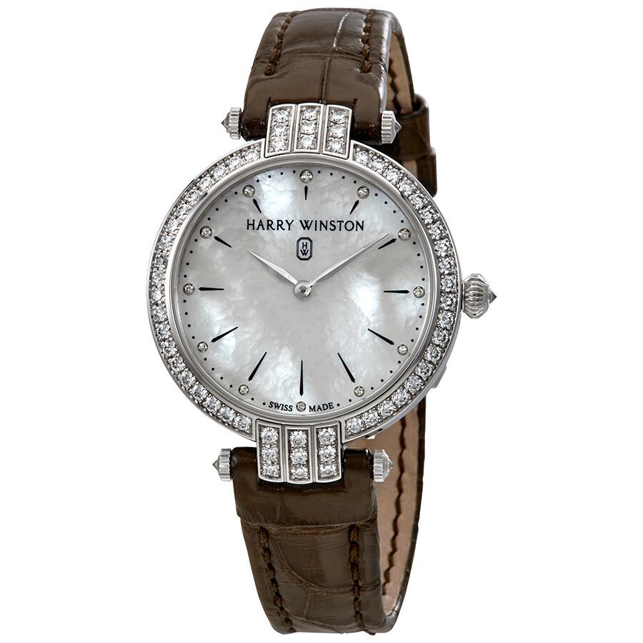 Harry Winston Premier White Mother Of Pearl Dial Ladies Diamond Watch PRNQHM..