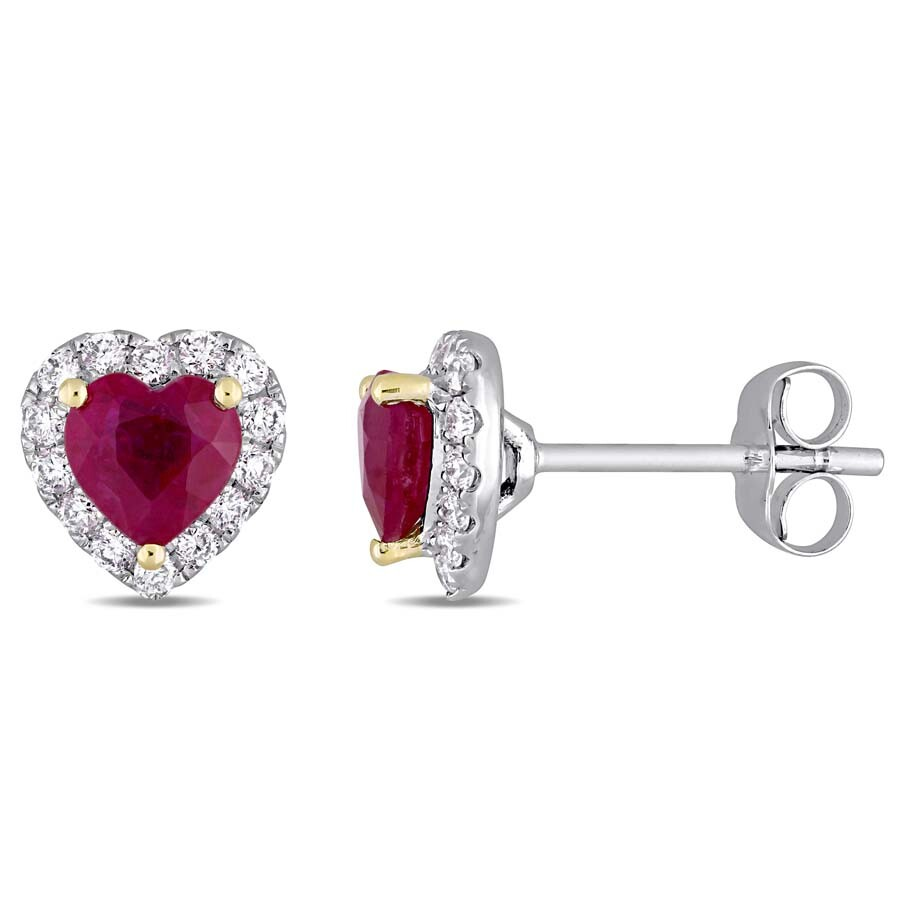 Heart Shape Ruby and 1/3 CT TW Diamond Halo Stud Earrings in 14k White Gold ..