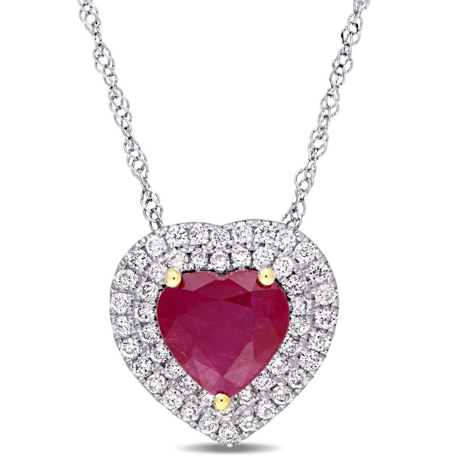 Heart Shape Ruby and 1/4 CT TW Diamond Double Halo Pendant with Chain in 14k..