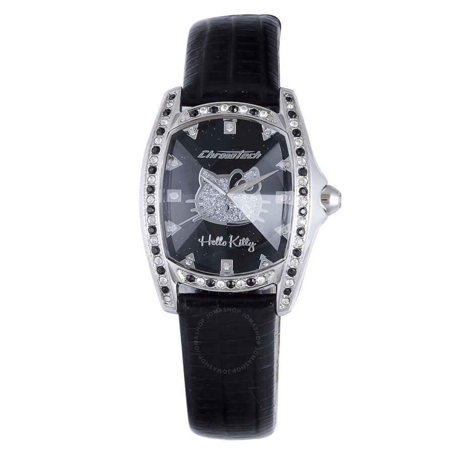 Hello Kitty by Chronotech Black Dial Black Leather Ladies Watch CT.7094SS/51