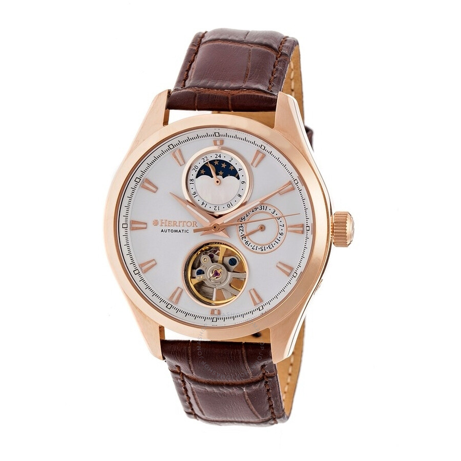 Heritor Sebastian White Moonphase Dial Rose Gold-tone IP Case Brown Leather ..
