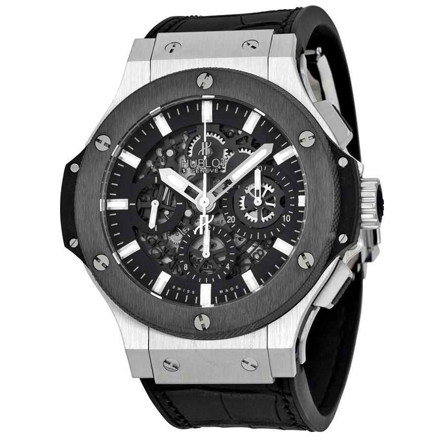 Hublot big bang aero chronograph black skeleton dial black rubber strap men 39 s watch 311 sm 1170 for Rubber watches