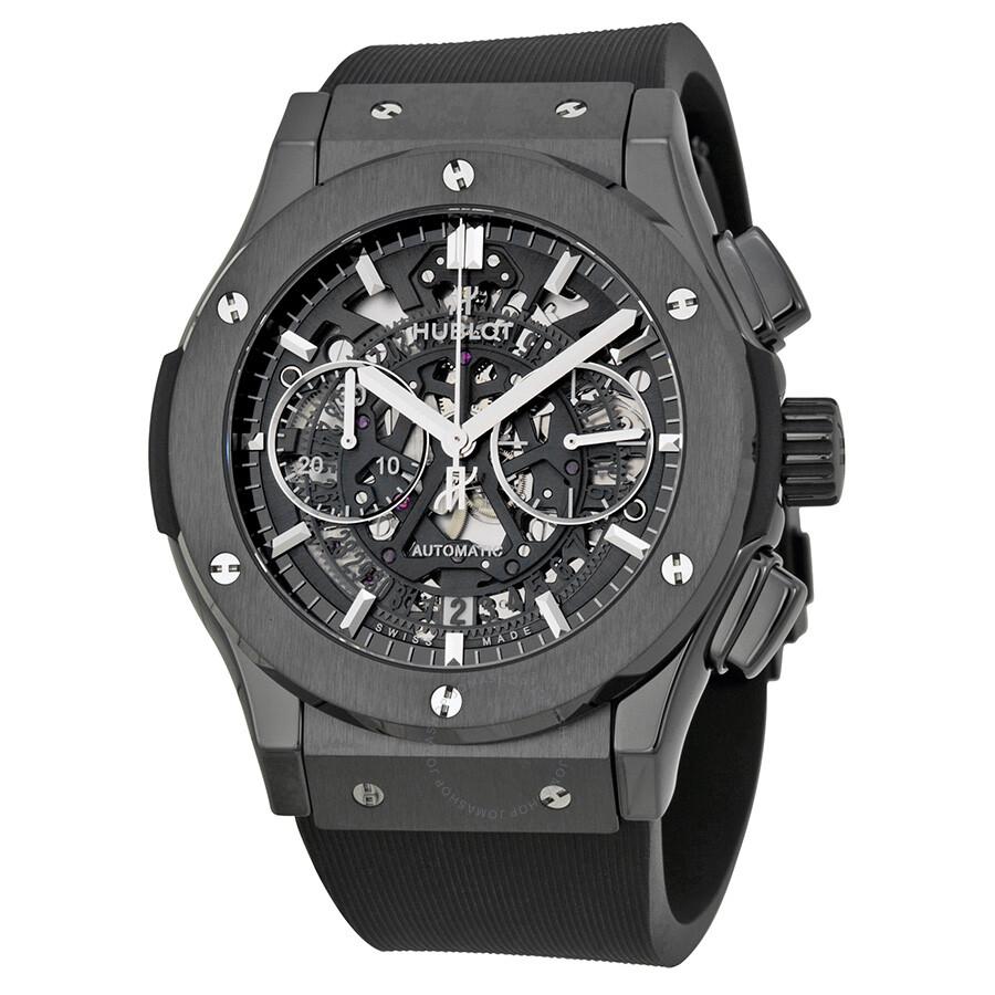 Hublot classic fusion aerofusion chronograph automatic black magic skeleton dial men 39 s watch 525 for Hublot watches