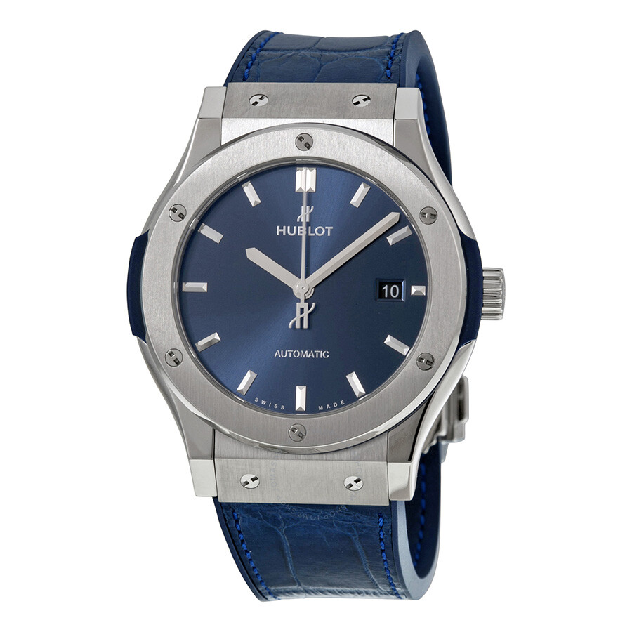 Hublot classic fusion automatic blue sunray dial titaniummen 39 s watch 542 classic for Watches hublot