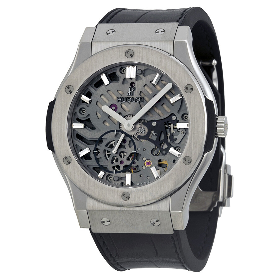 Hublot classic fusion hand wind skeleton dial men 39 s watch 545 classic fusion for Watches hublot