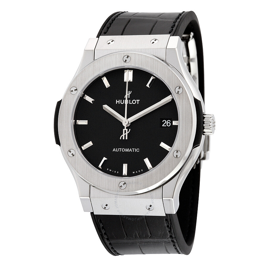 Hublot classic fusion black dial black leather watch 511nx1171lr classic fusion hublot for Watches hublot