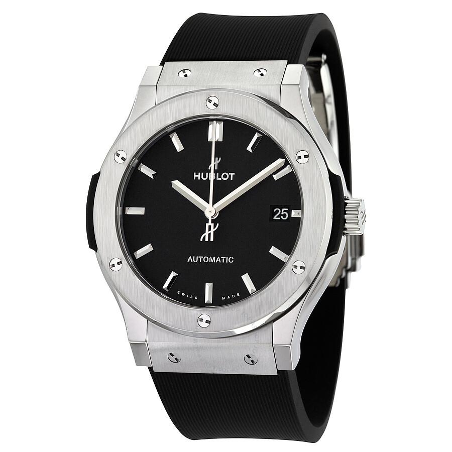 Hublot classic fusion black dial black rubber men 39 s 45mm watch 511 classic fusion for Hublot watches