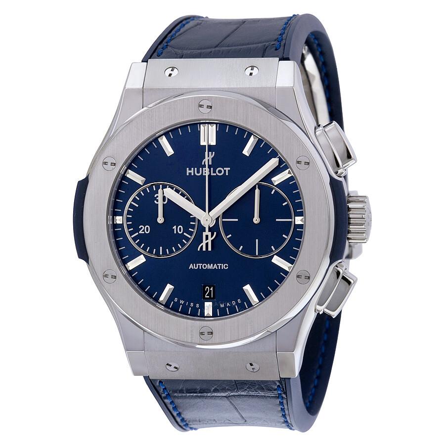 Hublot classic fusion blue sunray dial titanium automatic men 39 s watch 521 classic for Hublot watches