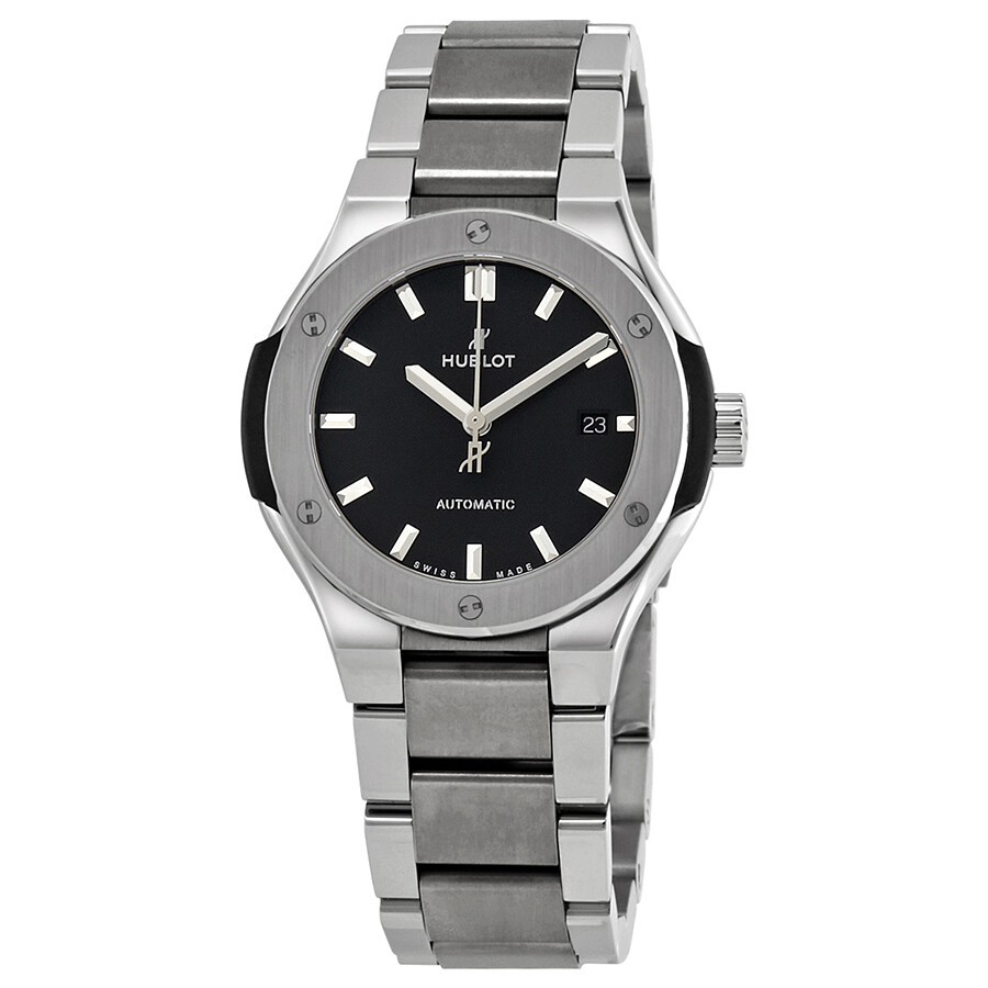 Hublot Classic Fusion Matte Black Dial Automatic Titanium Ladies Watch 585.N..