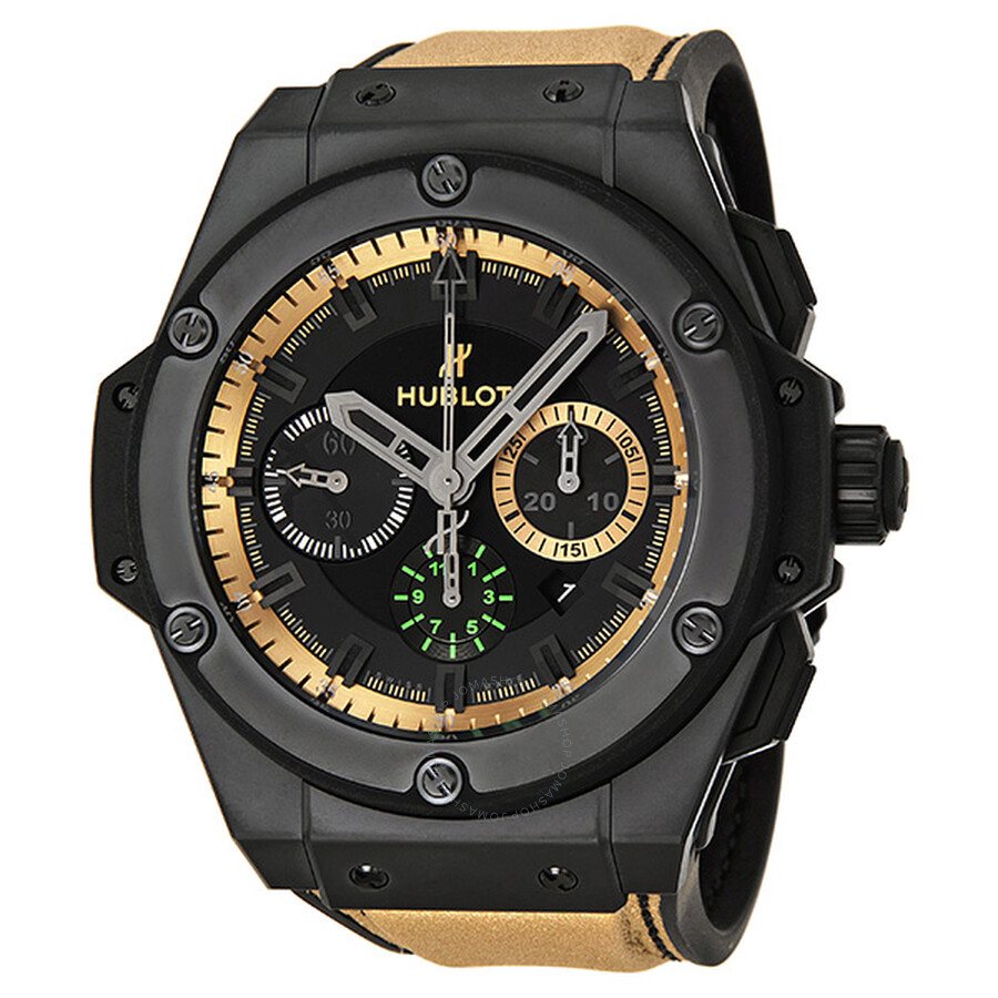 hublot king power usain bolt black chronograph dial men s watch 703