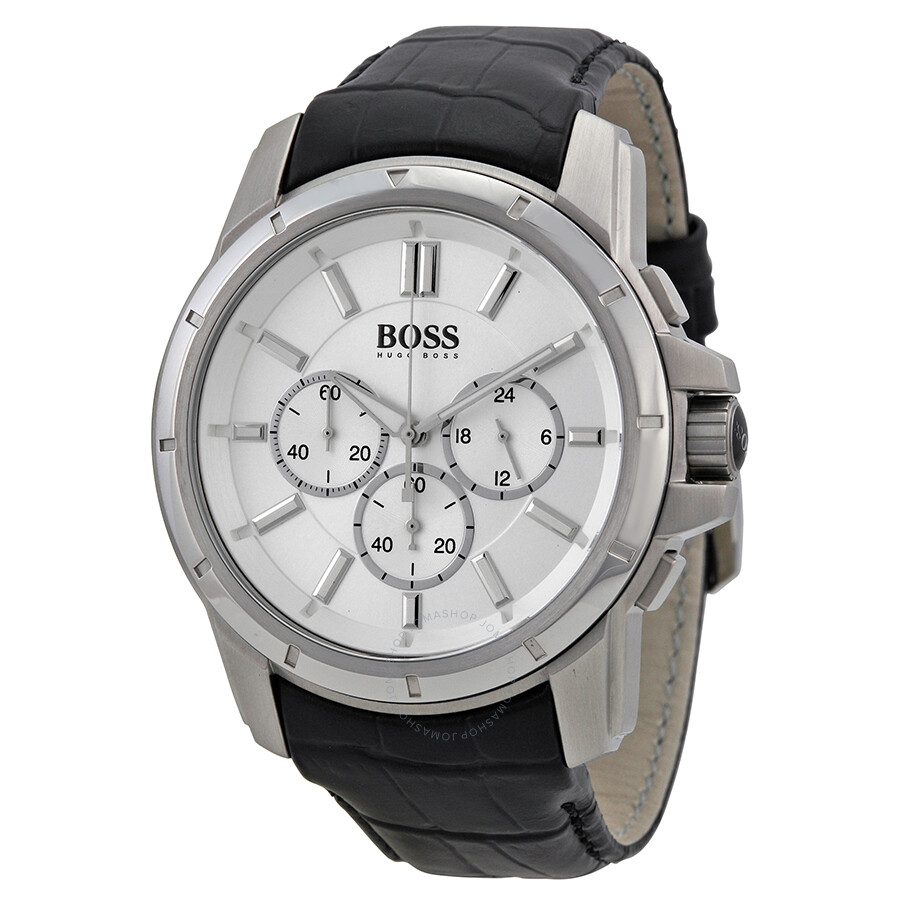 Hugo boss chronograph silver dial black leather men 39 s watch 1512927 hugo boss watches jomashop for Hugo boss watches